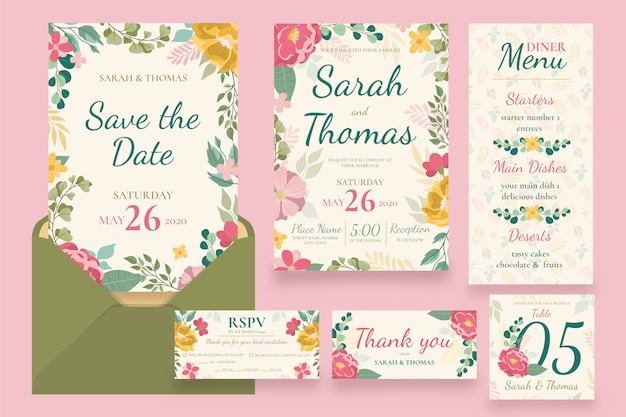 Collection of wedding stationery