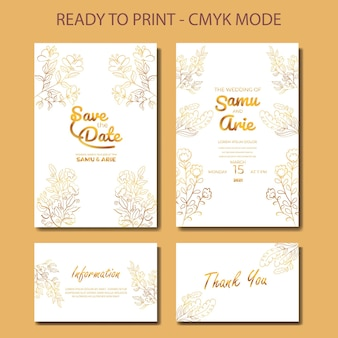 Collection of wedding white gold invitation flower