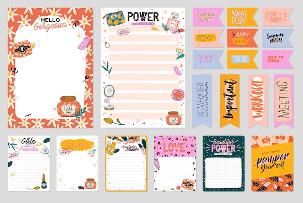 Collection of weekly or daily planner, note paper, to do list, stickers templates decorated by cute beauty cosmetic illustrations and trendy lettering. trendy scheduler or organizer. flat