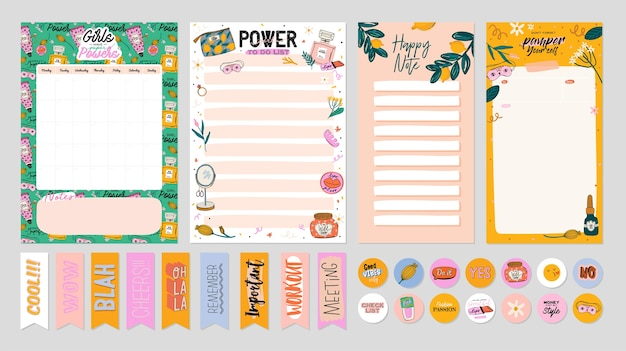 Collection of weekly or daily planner, note paper, to do list, stickers templates decorated by cute beauty cosmetic illustrations and trendy lettering. trendy scheduler or organizer