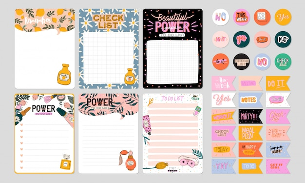 Collection of weekly or daily planner, note paper, to do list, stickers templates decorated by cute beauty cosmetic illustrations and trendy lettering. trendy scheduler or organizer.
