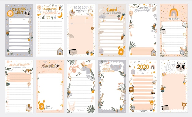 Collection of weekly or daily planner, note paper, to do list, stickers templates decorated by cute kids illustrations and inspirational quote. school scheduler and organizer. flat