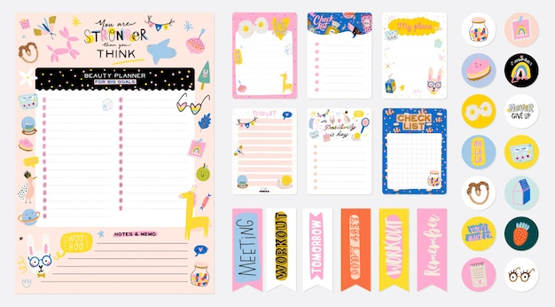 Collection of weekly or daily planner, note paper, to do list, stickers templates decorated by cute kids illustrations and inspirational quote. school scheduler and organizer.