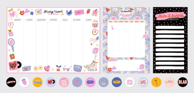 Collection of weekly or daily planner, note paper, to do list, stickers templates decorated by cute love illustrations and inspirational quote. school scheduler and organizer. flat