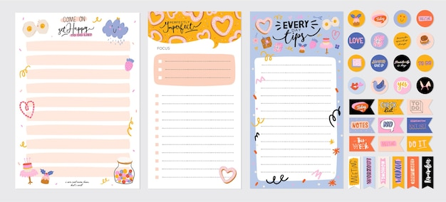 Collection of weekly or daily planner, note paper, to do list, stickers templates decorated by cute love illustrations and inspirational quote. school scheduler and organizer.