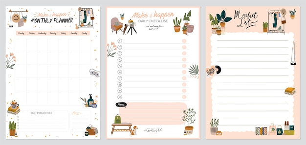 Collection of weekly or daily planner, note paper, to do list, stickers templates decorated with home interior decor illustrations and inspirational quote. school scheduler and organizer. flat