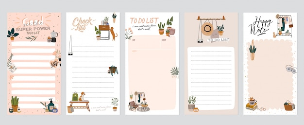 Collection of weekly or daily planner, note paper, to do list, stickers templates decorated with home interior decor illustrations and inspirational quote.