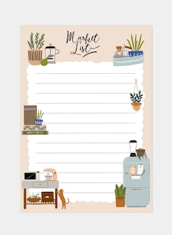 Collection weekly or daily planner, note paper, to list, stickers templates decorated with interior