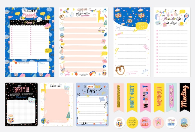 Collection of weekly or daily planner, note paper