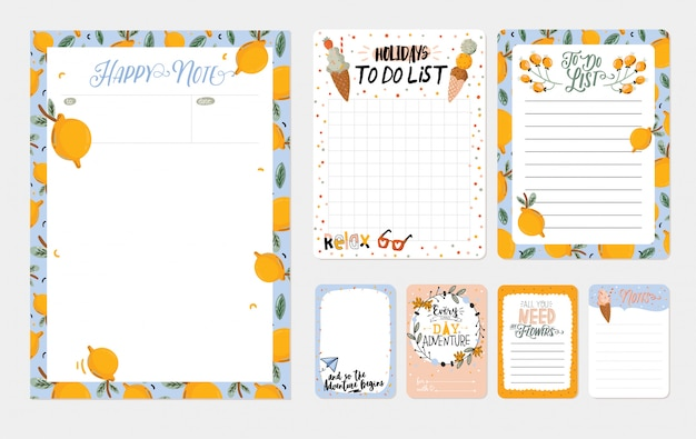 Collection of weekly and daily planners, sheet for notes and to do lists with summer illustrations and lettering. template for agenda, planners, check lists, and other stationery.