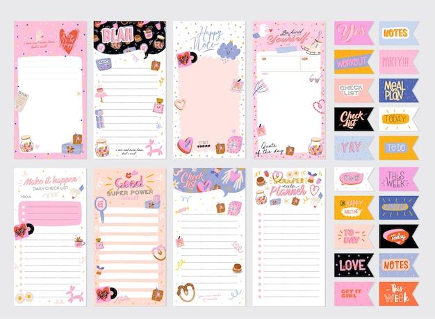 컬렉션 주간 또는 일일 플래너, 메모지, 할 일 목록, 귀여운 사랑으로 장식 된 스티커 템플릿
