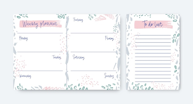 Collection of weekly planner and to-do-list templates decorated by stains and scribble