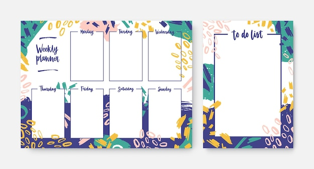 Collection of weekly planner and to-do-list templates with frame decorated by bright colored brush strokes and scribble. everyday task and appointment planning. modern creative illustration.
