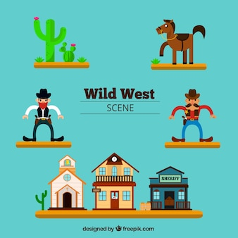 Collection of western characters and buildings