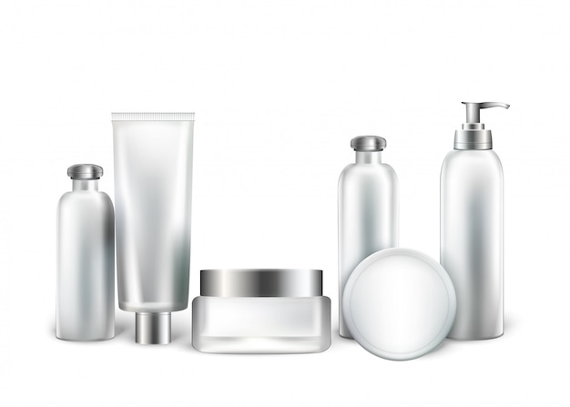 Collection of white bottles and tubes for cosmetic