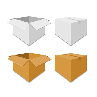 Collection white and brown box packaging