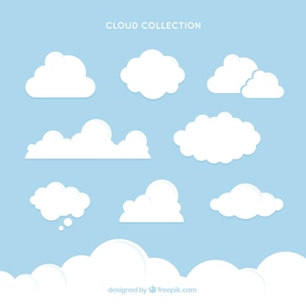 Collection of white cloud with different sizes