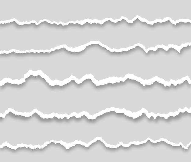 Collection of white torn paper piece of torn horizontal paper strip