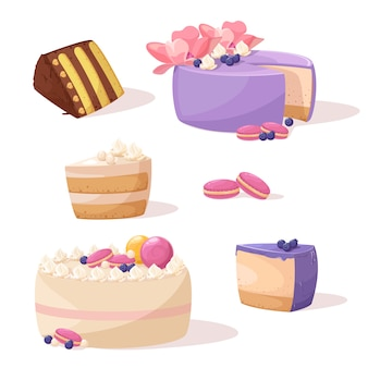 Collection of whole and pieces of cakes. sweet desserts with cream.