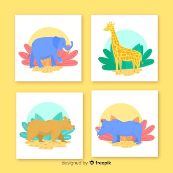 Collection of wild animal card flat design