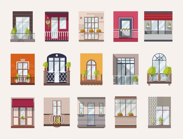Collection of windows and balconies of modern and old-fashioned styles.