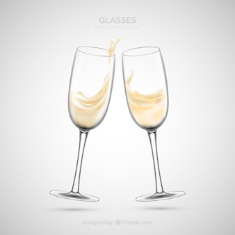 Collection of wine glasses in realistic style