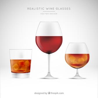Collezione di bicchieri da vino in stile realistico