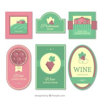 Collezione di etichette di vino nei colori pastello