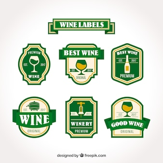 Collection of wine labels in vintage style