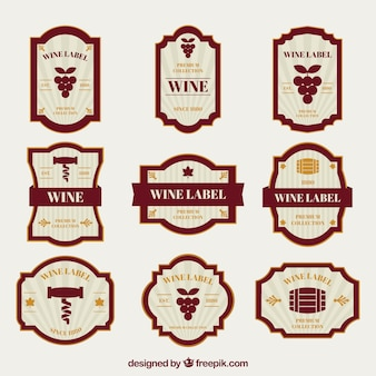 Collection of wine labels with orange details