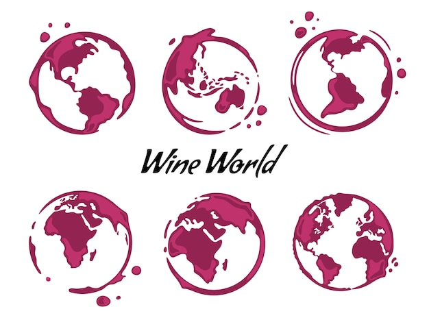 Collection of wine round stains shaped like a world map