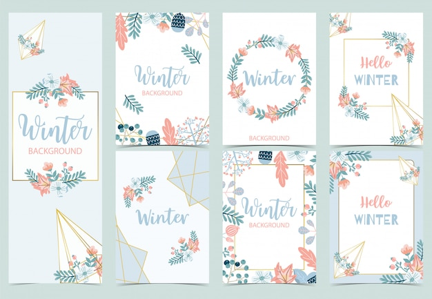 Collection of winter background set with bird,flower,leaves.