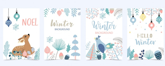 Collection of winter background set with leaves