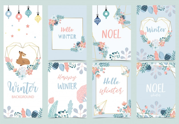 Collection of winter background set with reindeer,bird,flower,leaves.