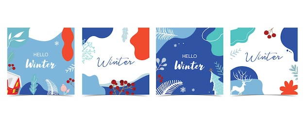Collection of winter background set with tree,raindeer,flower,leaves.editable vector illustration for christmas invitation,postcard and website banner
