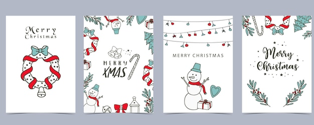 Collection of winter background set with tree,snowman,flower,leaves.editable vector illustration for christmas invitation,postcard and website banner