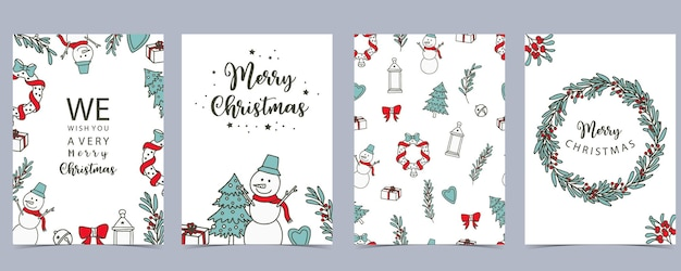 Collection of winter background set with tree,snowman,flower,leaves