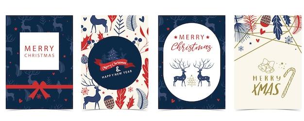 Collection of winter background set with treeraindeerflowerleaves