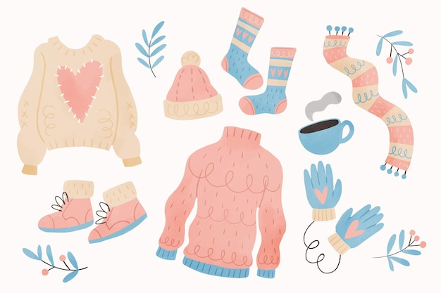 Collection of winter clothes in watercolor