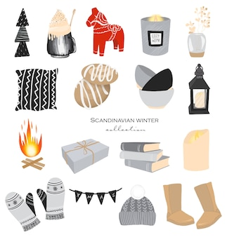 Collection of winter home cozy elements in scandinavian hygge style