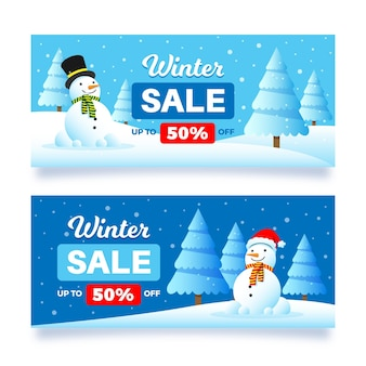 Collection of winter sale banners