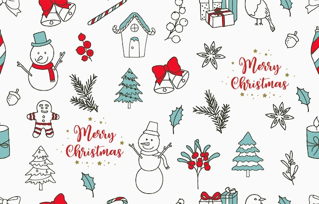 Collection of winter seamless pattern with tree,snowman,gift;bell