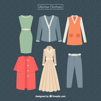 Collection of winter women's clothing
