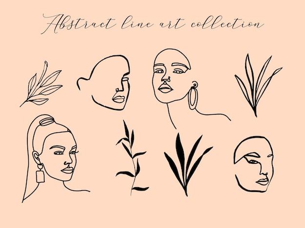 추상 라인 아트 여성 초상화와 꽃 요소가 있는 컬렉션