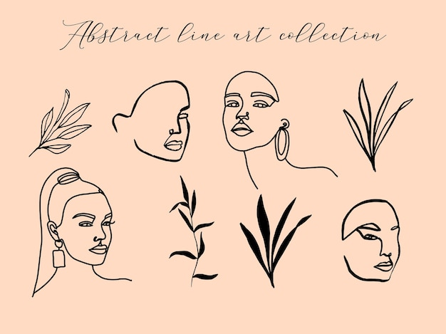 Collection with abstract line art woman portraits and floral elements
