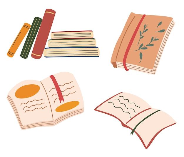 Сборник с книгами. стопки книг, открытые книги, тетради. люблю мотивацию к чтению. библиотека, концепция исследования. символы образования. уютный и комфортный образ жизни. концепция чтения. вектор