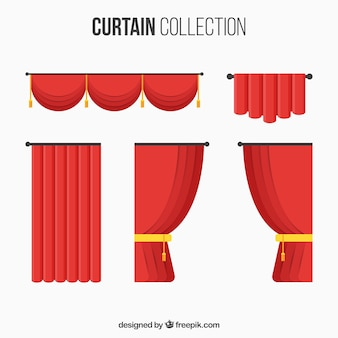 Collection with different types of theater curtains