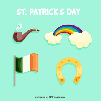 Коллекция с четырьмя объектами для дня святого патрика