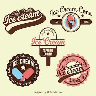 Collezione con grandi distintivi di gelato