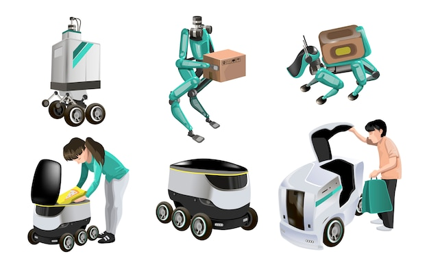 Collection with modern robots delivery methods. robots with boxes and fast delivery of goods in the city. technological shipment innovation concept. modern isometric  illustration. isolated